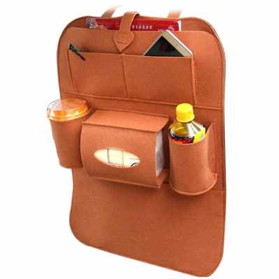 Auto Car Backseat Organizer Car-Styling Holder Felt Covers Versatile Multi-Pocket Seat Wool Felt Storage Container Hanging Box Multifunction Vehicle Accessories Bag (Brown)