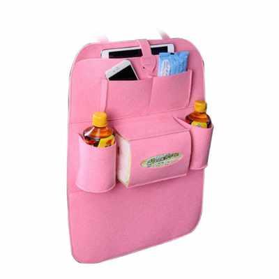 Auto Car Backseat Organizer Car-Styling Holder Felt Covers Versatile Multi-Pocket Seat Wool Felt Storage Container Hanging Box Multifunction Vehicle Accessories Bag (Pink)