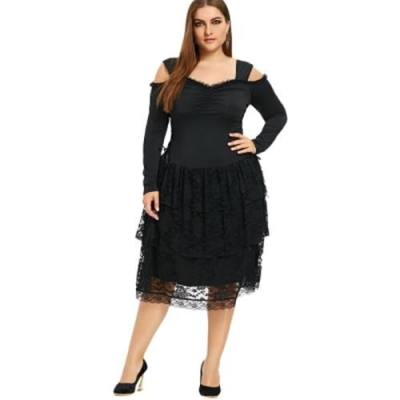 PLUS SIZE COLD SHOULDER LAYERED GOTHIC DRESS (BLACK)