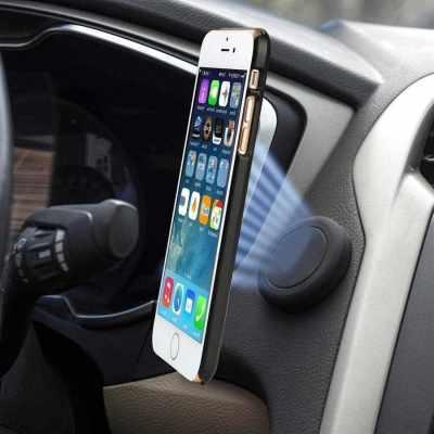 Car magnet mobile phone bracket car outlet paste mini magnetic suction car at will stick black (Black)