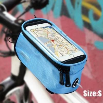 ROSWHEEL 5.5 INCH TOUCH SCREEN BICYCLE SADDLE PHONE BAG HOLDER HANDLEBAR PACK (BLUE)