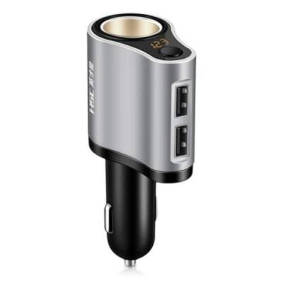 HSC 119A CAR CHARGER DUAL USB PORTS CIGARETTE LIGHTER SOCKET (BLACK AND GRAY)