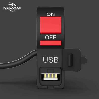 BSDDP motorcycle car usb phone charger with switch waterproof utility car charger power 12V to 2A black (Black)