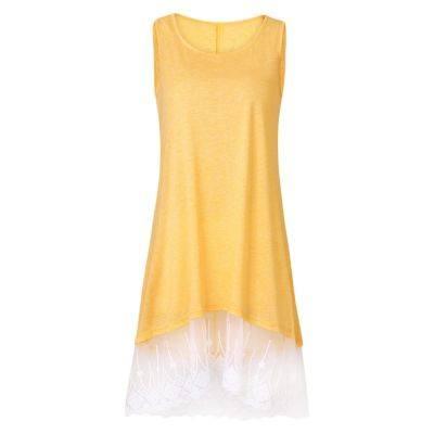 ROUND COLLAR SLEEVELESS SPLICED LACE WOMEN DRESS (YELLOW)