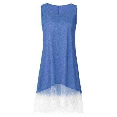 Round Collar Sleeveless Spliced Lace Women Dress (CORNFLOWER BLUE)