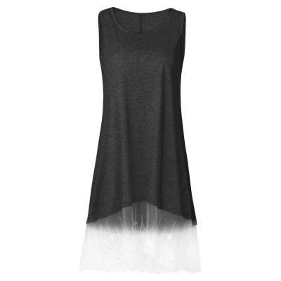 ROUND COLLAR SLEEVELESS SPLICED LACE WOMEN DRESS (DARK GRAY)