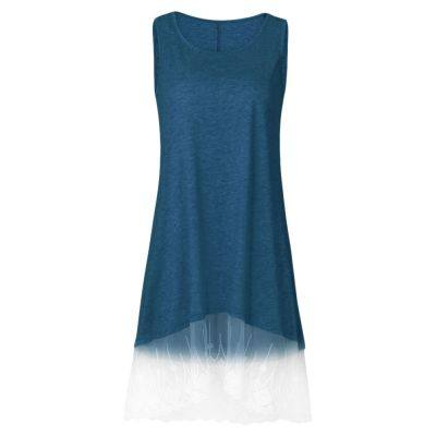 ROUND COLLAR SLEEVELESS SPLICED LACE WOMEN DRESS (STEEL BLUE)