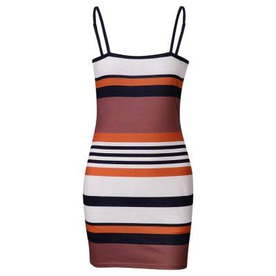 SPAGHETTI STRAP BACKLESS STRIPE BODYCON WOMEN MINI DRESS (COFFEE)
