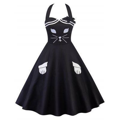 Cat Pattern Halter Swing Dress (BLACK)