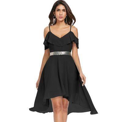 Flounce Open Shoulder Asymmetrical Chiffon Dress (BLACK)