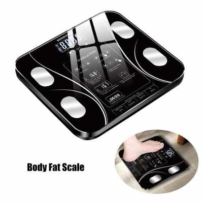 Body Fat Scales Intelligent Electronic Weight Scale High Precision Digital BMI Scale Water Mass Health Body Composition Analyzer Monitor English Version (Black)
