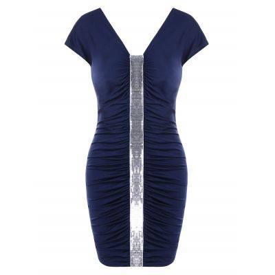 Sequins Panel Mini Ruched Dress (DEEP BLUE)