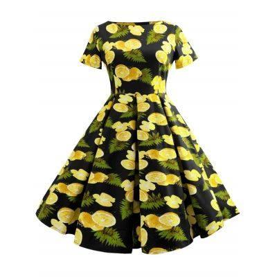 Short Sleeve Fruit Print A Line Dress (BLACK)