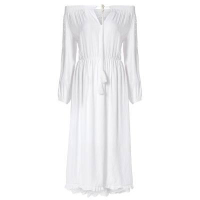 Sexy Off The Shoulder Dress Hollow Lace Spliced Design Ribbon Flouncing Hem (WHITE)