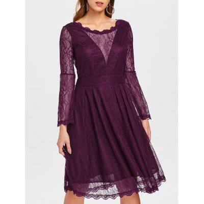 Lace Knee Length Long Sleeve Dress (PLUM VELVET)