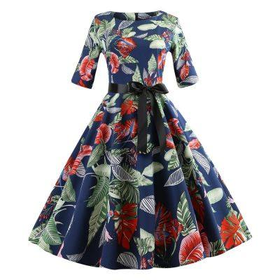 Round Collar Half Sleeves Floral Print Tied Strap A-line Women Dress (WINDOWS BLUE)