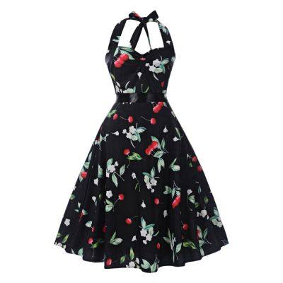 B016 Tied Strap Sleeveless Backless Floral Print Women A-line Dress (BLACK)