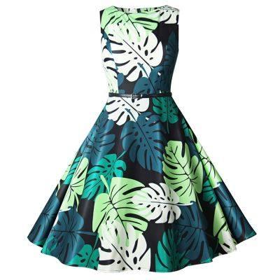 Boat Neck Sleeveless Leaf Print A-line Women Vintage Dress (SPRING GREEN)