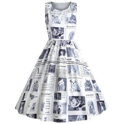 Round Collar Sleeveless Newspaper Print A-line Women Dress (WHITE)