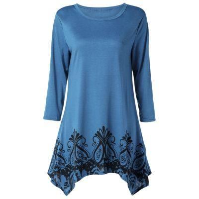 Round Collar Long Sleeve Print Pocket Asymmetric Women Dress (GLACIAL BLUE ICE)
