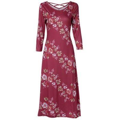 Round Collar 3/4 Sleeve Criss-cross Strap Floral Print Women Midi Dress (CHESTNUT RED)