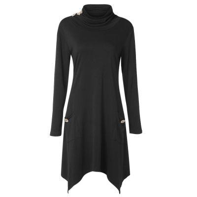 Funnel Collar Long Sleeve Button Pocket Asymmetric Women Dress (BLACK)