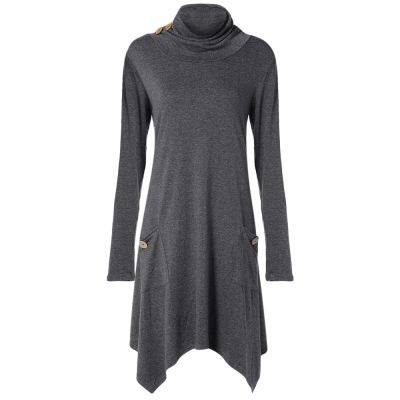 Funnel Collar Long Sleeve Button Pocket Asymmetric Women Dress (GRAY DOLPHIN)
