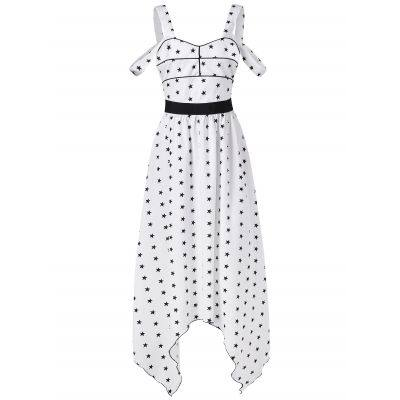 Cut Out Shoulder Midi Star Dress (WHITE)
