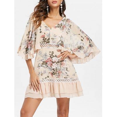 Flounce Edge Crochet Panel Floral Dress (BLANCHED ALMOND)