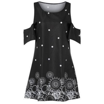 Round Collar Cold Shoulder Sleeves Knee Length A-line Women Dress (BLACK)