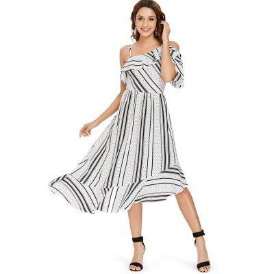 Stripe Dot Ruffle Asymmetric Midi Dress (WHITE)