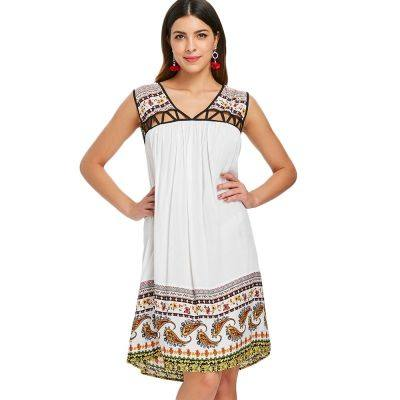 Hollow Out Paisley Print Shift Dress (WHITE)