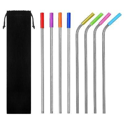 REUSABLE STAINLESS STEEL DRINKING STRAWS WITH SILICONE TIPS CLEANING BRUSH (SILVER)