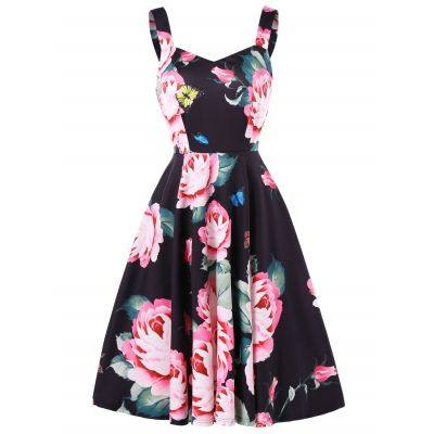 Sweetheart Neck Floral Print Fit and Flare Dress (BLACK)