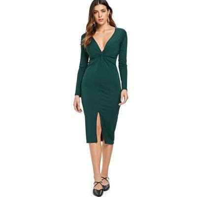 Plunging Neck Front Slit Long Sleeve Twist Bodycon Dress (DARK GREEN)