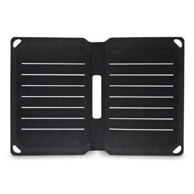 Portable 9W Folding Solar Panel Charger Water-resistant Mobile Power Bank (BLACK)