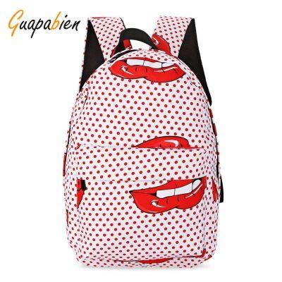 173ed66e1920 Guapabien Preppy Style Women Patterns Print Canvas School Bag Girls Backpack  (LOVE RED)