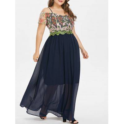 Plus Size Cold Shoulder Floor Length Dress (CADETBLUE)