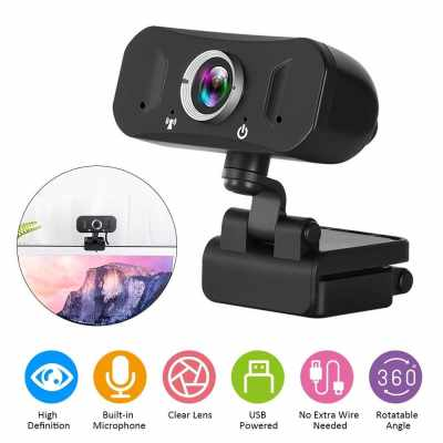 2K High Definition Video Webcam with Noise Reduction Mic Autofocus Function Web Cam USB2.0 Charging Port Computer PC Camera with Tripod Stand for Video Conference Live Streaming Recording Portable (Black)