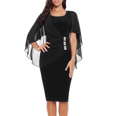 Rhinestone Embellished Bodycon Knee Length Dress (BLACK)