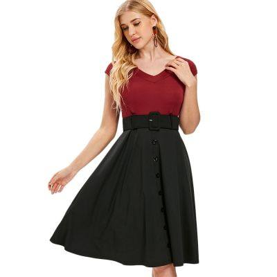 V Neck Short Sleeve Two Tone Belted Fit and Flare Dress (RED WINE)