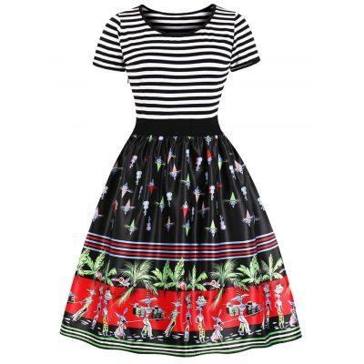 Retro Printed High Waist Pin Up Dress (BLACK)