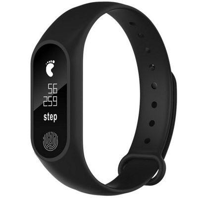 M2 Waterproof Fitness Smart Bracelet Heart Rate Monitor for iPhone Android (BLACK)