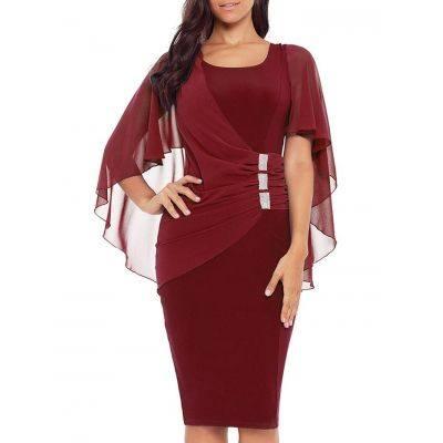 Rhinestone Embellished Bodycon Knee Length Dress (RED WINE)