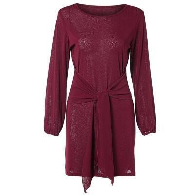 76d69ec2473 Boat Neck Long Lantern Sleeve Tied Strap Solid Color Women Bodycon Dress  (RED WINE)