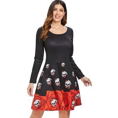Halloween Skull Print Flare Dress (BLACK)