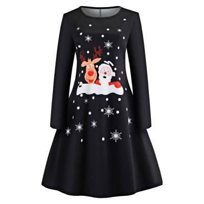 Christmas Elk Santa Long Sleeve Vintage Dress (BLACK)