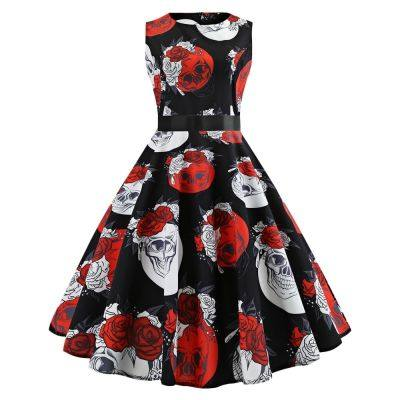 Personal Style Round Collar Elegance Dress for Women (BLACK)