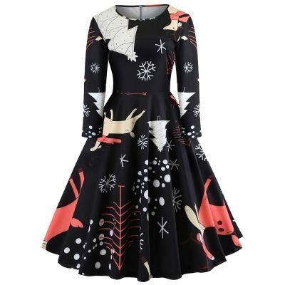 Round Collar Long Sleeve Christmas Tree Print A-line Women Vintage Dress (BLACK)
