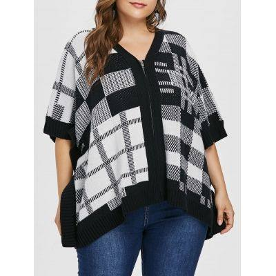 Plus Size Checked Full Zip Sweater Coat  (BLACK)